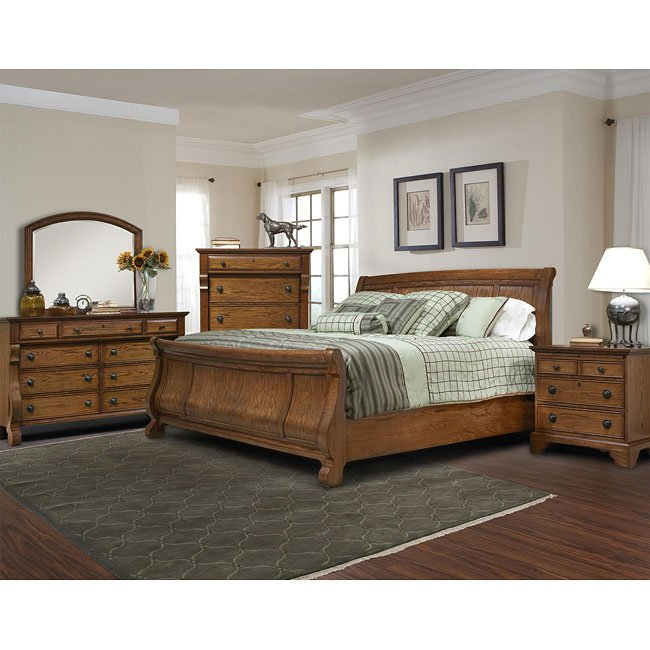 Georgetown Sleigh Bedroom Set (Oak)