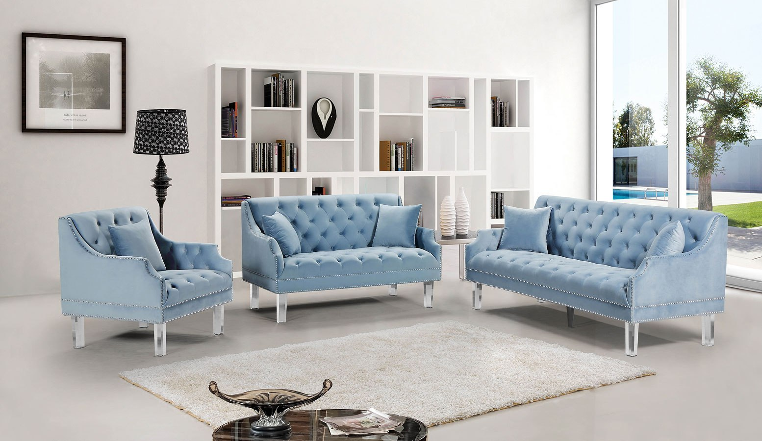 Roxy Living Room Set Sky Blue Meridian Furniture Furniture Cart