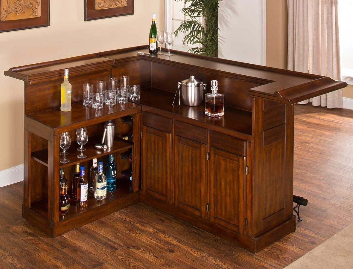 Classic Brown Cherry Large Home Bar W/ Side Bar Hillsdale Furniture ...
