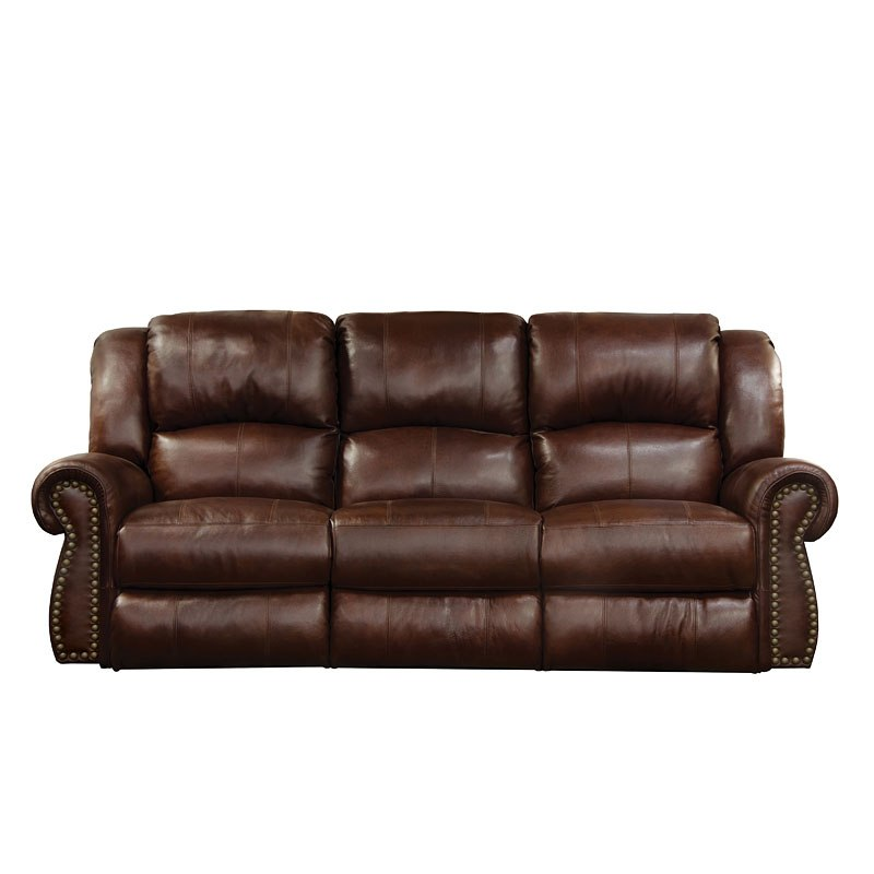 Messina Power Lay Flat Reclining Sofa W/ Power Headrest (Walnut ...