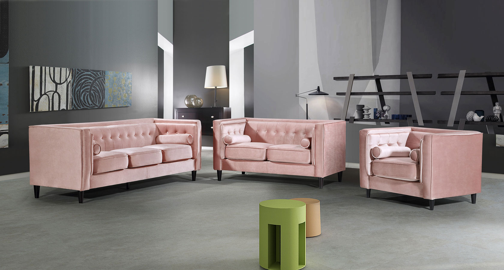 Taylor Living Room Set Pink Meridian Furniture Furniture Cart