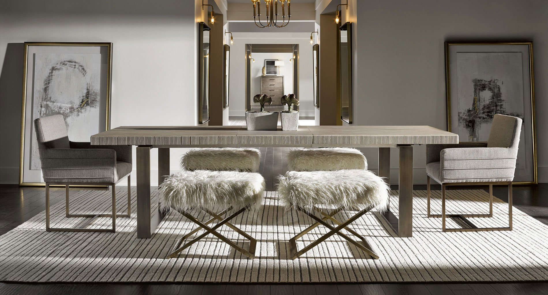 Modern Robards Rectangular Dining Set (Quartz) w/ End Benches
