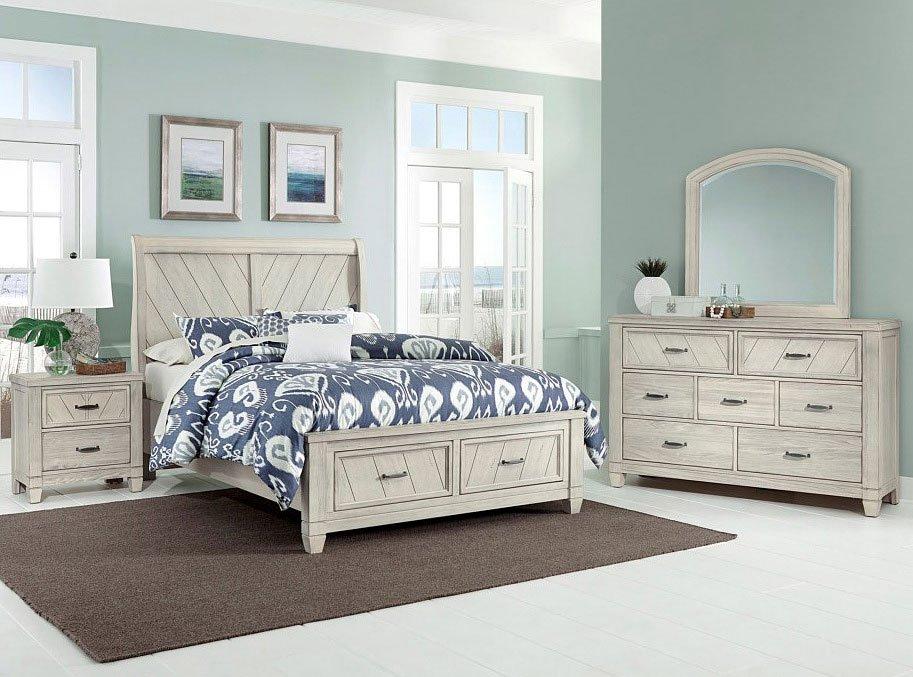 rustic cottage sleigh storage bedroom set white vaughan bassett furniture cart. Black Bedroom Furniture Sets. Home Design Ideas