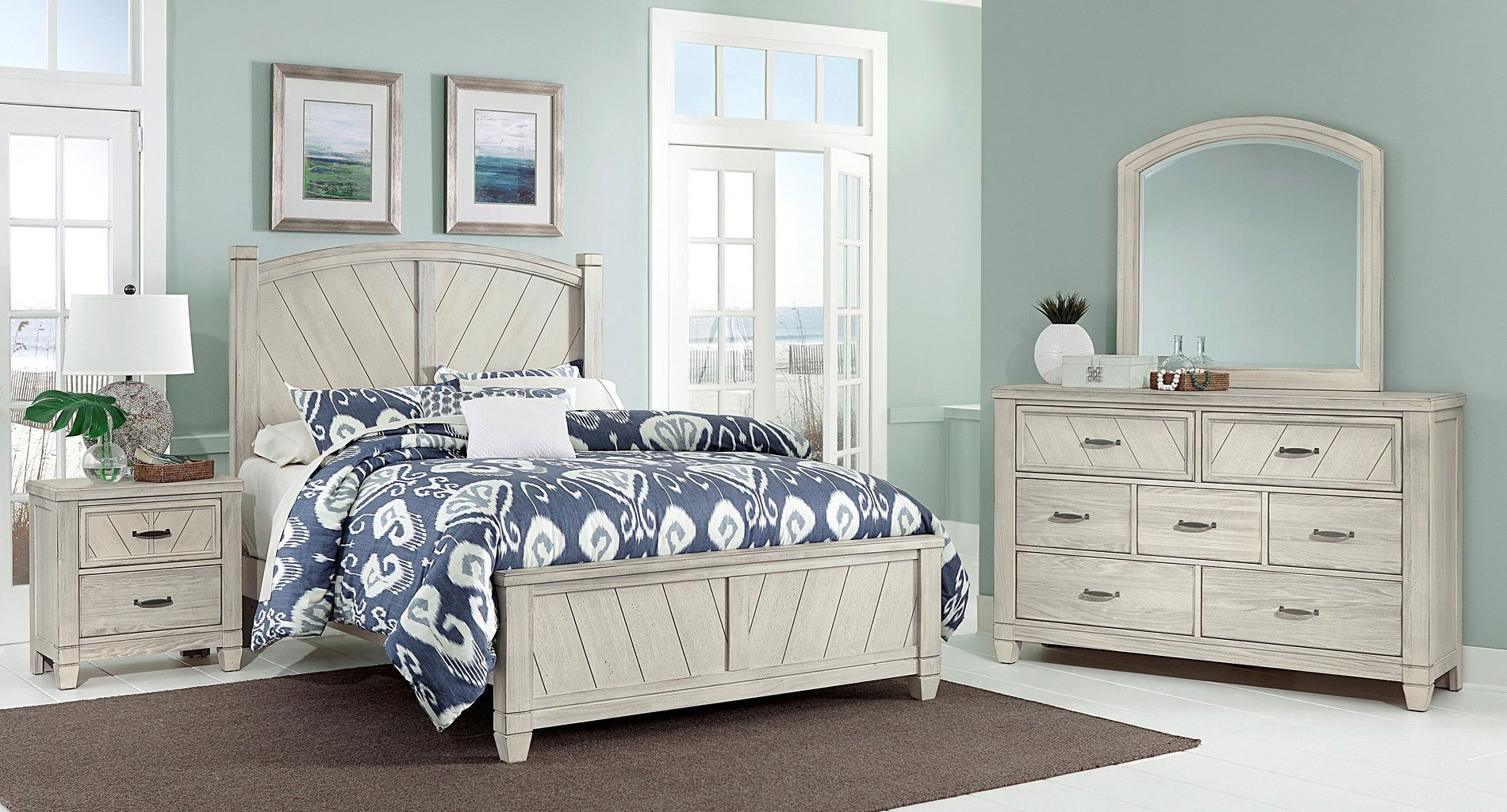 rustic cottage panel bedroom set white vaughan bassett furniture cart. Black Bedroom Furniture Sets. Home Design Ideas