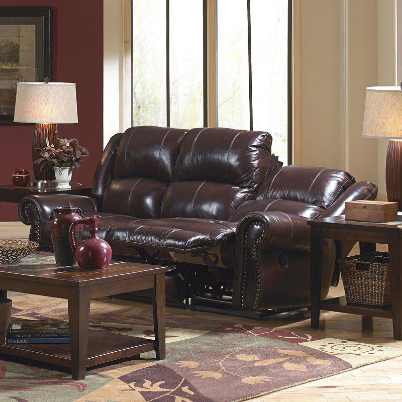 Livingston Power Reclining Sofa W Drop Down Table Redwood