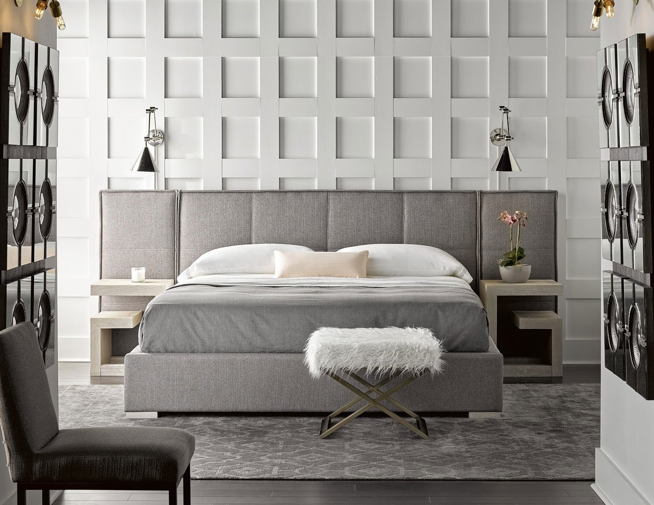 Modern Connery Upholstered Bedroom Set w/ Panels (Flint)