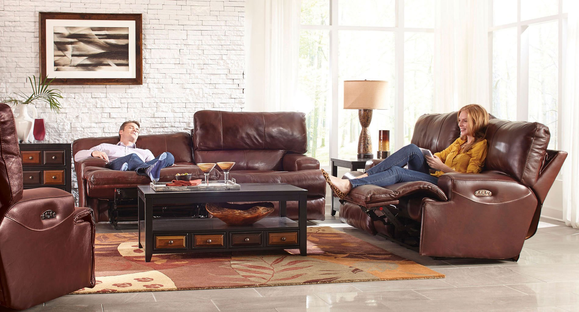 Wembley Power Lay Flat Reclining Living Room Set (Walnut)