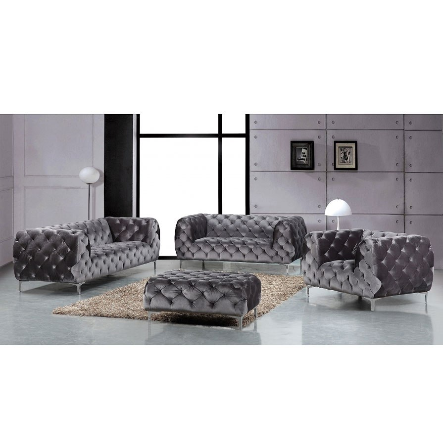 Mercer Living Room Set Grey Meridian Furniture Furniture Cart