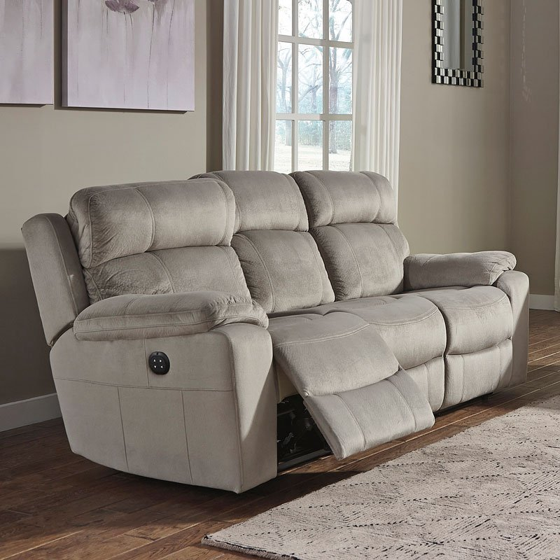 Uhland Granite Power Reclining Sofa W Adjustable