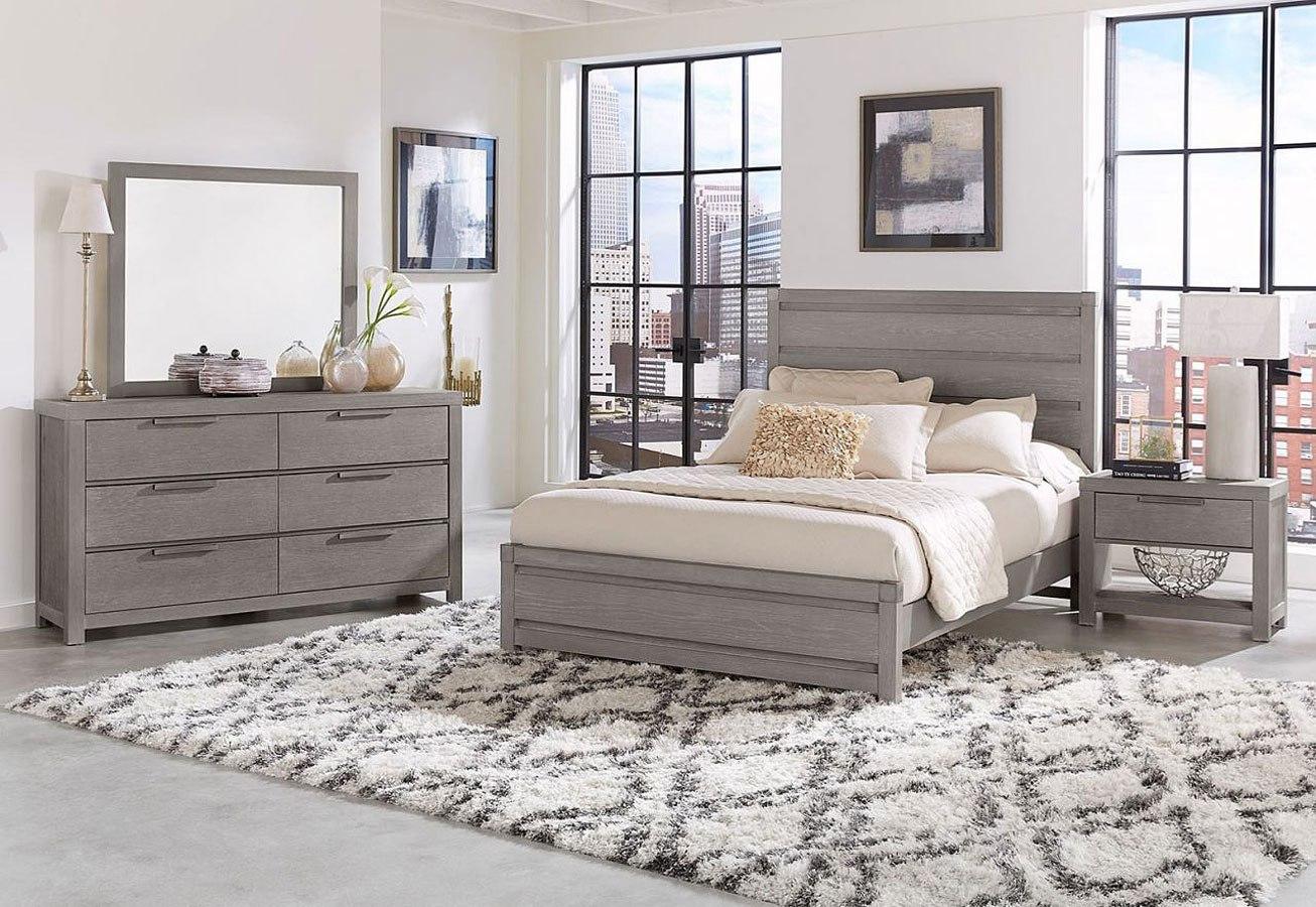 American Modern Plank Low Profile Bedroom Set Grey Vaughan Bassett Furniture Cart