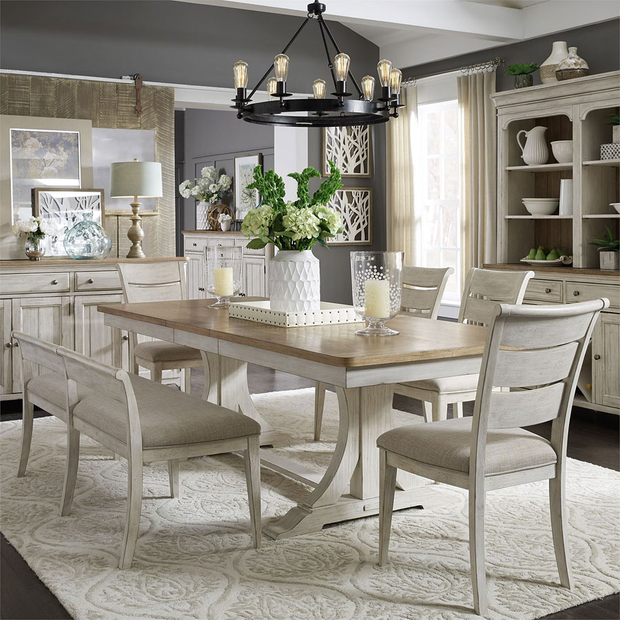 Bench Seating Dining Room Sets: Farmhouse Reimagined Rectangular Dining Set W/ Upholstered
