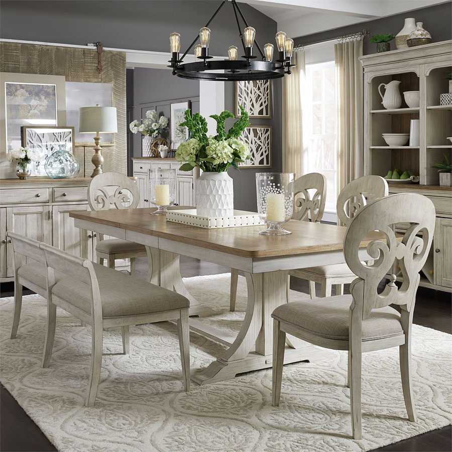 Farmhouse Reimagined Rectangular Dining Set W/ Splat Back