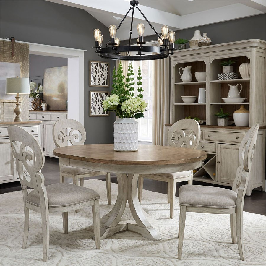 Dinning Room: Farmhouse Reimagined Oval Dining Room Set W/ Splat Back