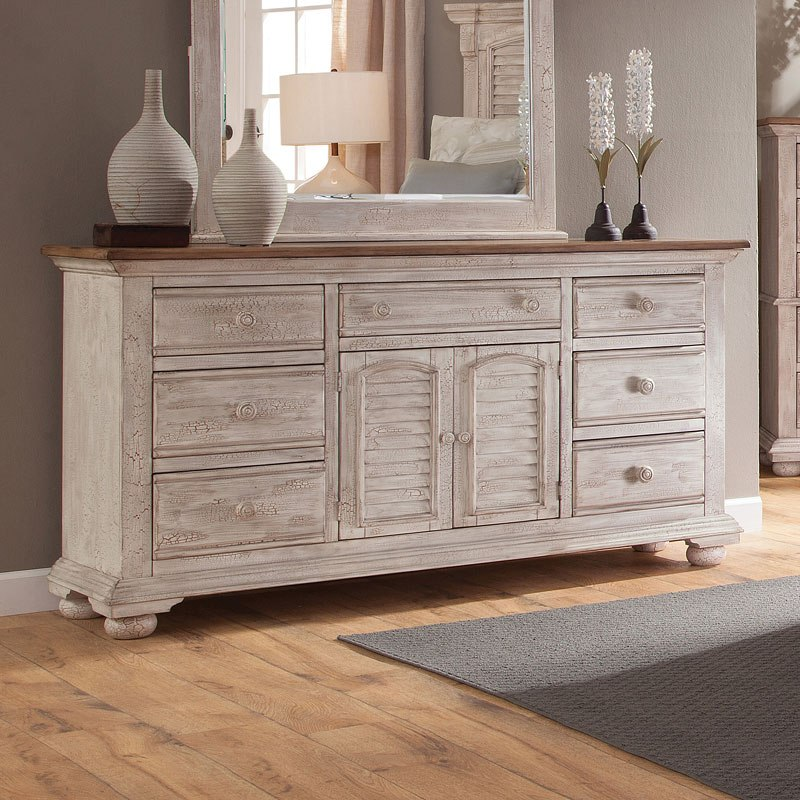 Fantastic Cottage Traditions Triple Dresser Crackled White Best Image Libraries Counlowcountryjoecom