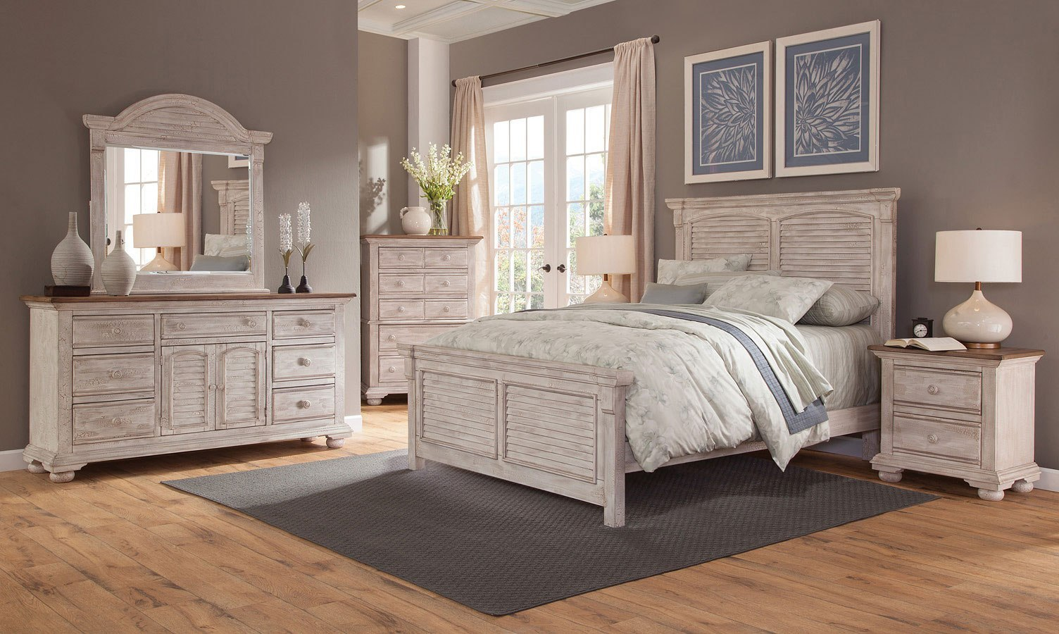 Cottage Traditions Panel Bedroom Set Crackled White American Woodcrafters Furniture Cart
