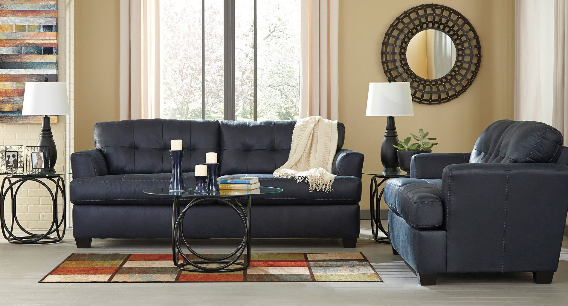 Inmon Navy Living Room Set Benchcraft Furniture Cart