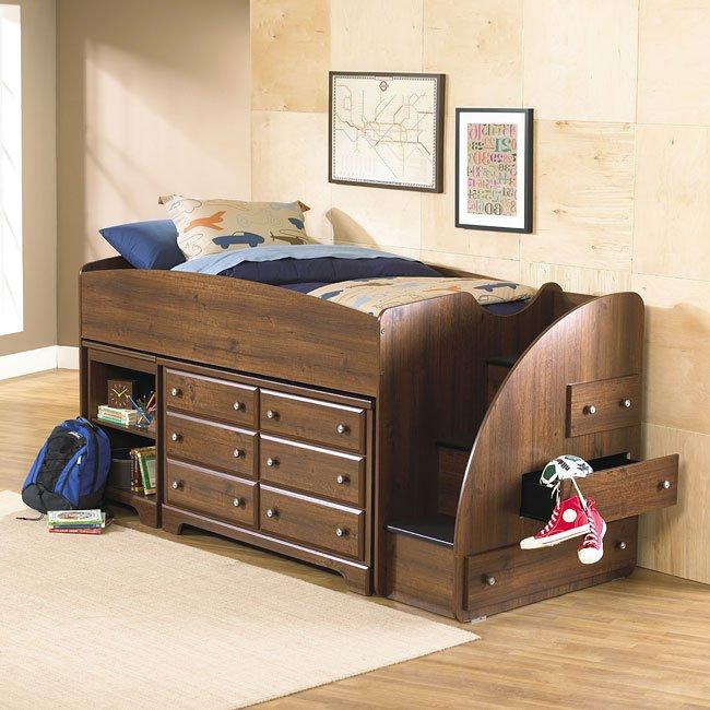 Parker Storage Loft Bed W Right Stairs Standard Furniture Cart