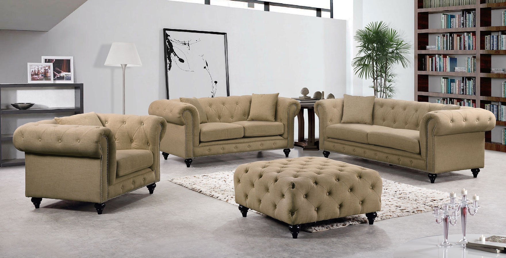 Chesterfield Living Room Set Sand Meridian Furniture Furniture Cart