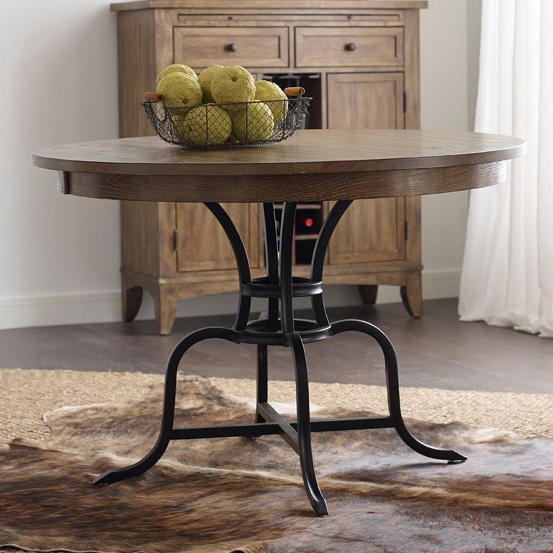 the nook 54 inch round metal dining table oak kincaid