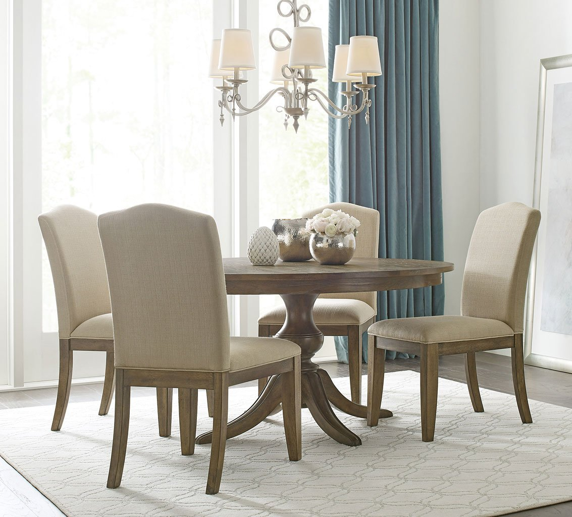 The Nook 54 Inch Round Dining Set Oak W Parsons Chairs