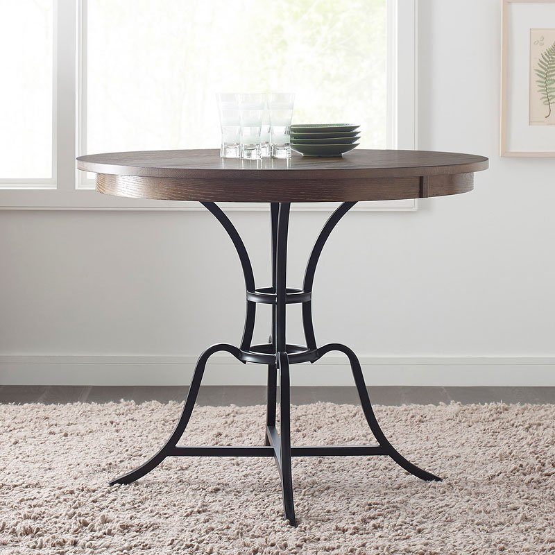 The Nook 54 Inch Round Metal Counter Table Oak Kincaid Furniture