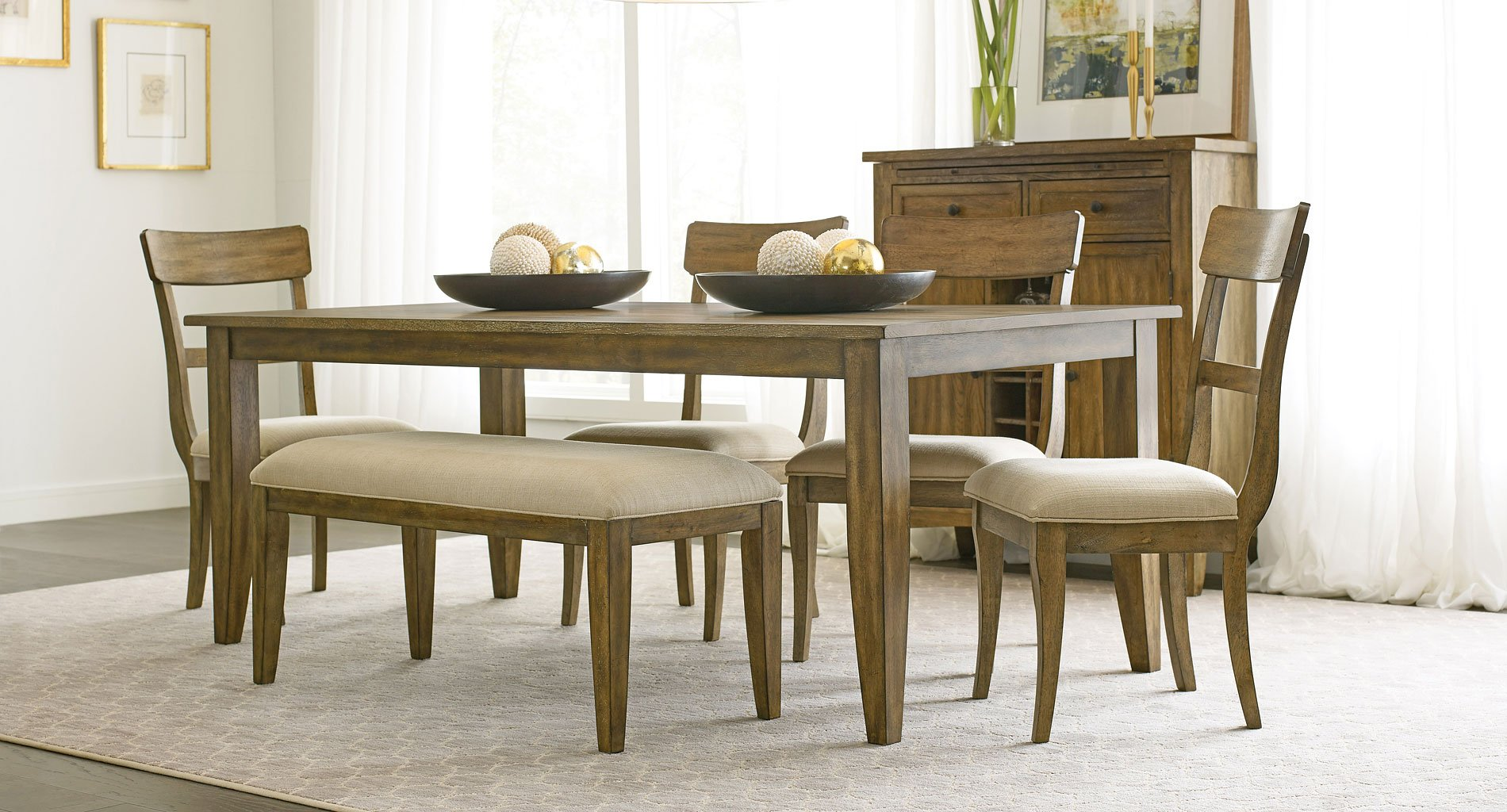 The Nook 80 Inch Rectangular Dining Set Oak W Side Chairs And