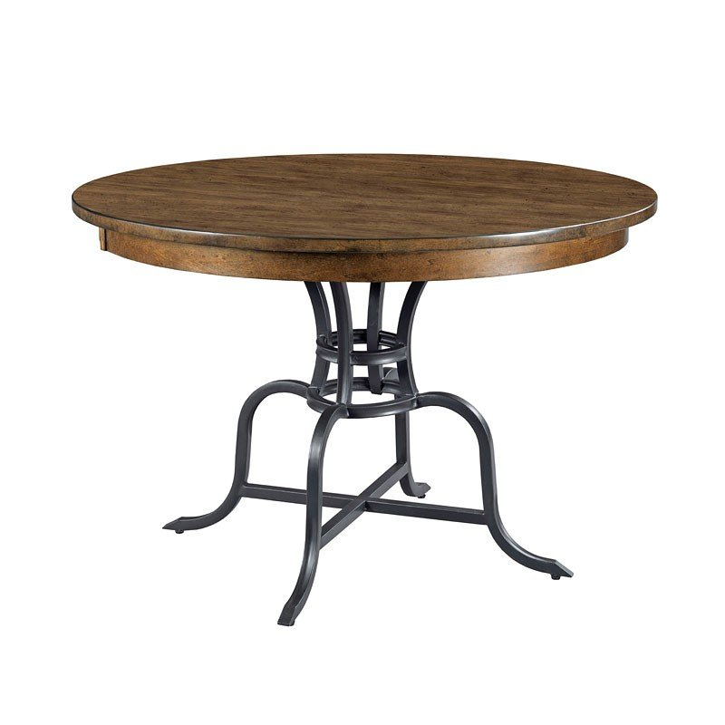 The Nook 44 Inch Round Metal Dining Table Maple
