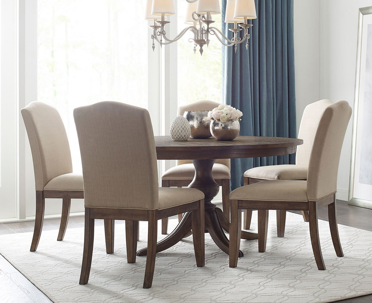 The Nook 54 Inch Round Dining Set (Maple) W/ Parsons Chairs
