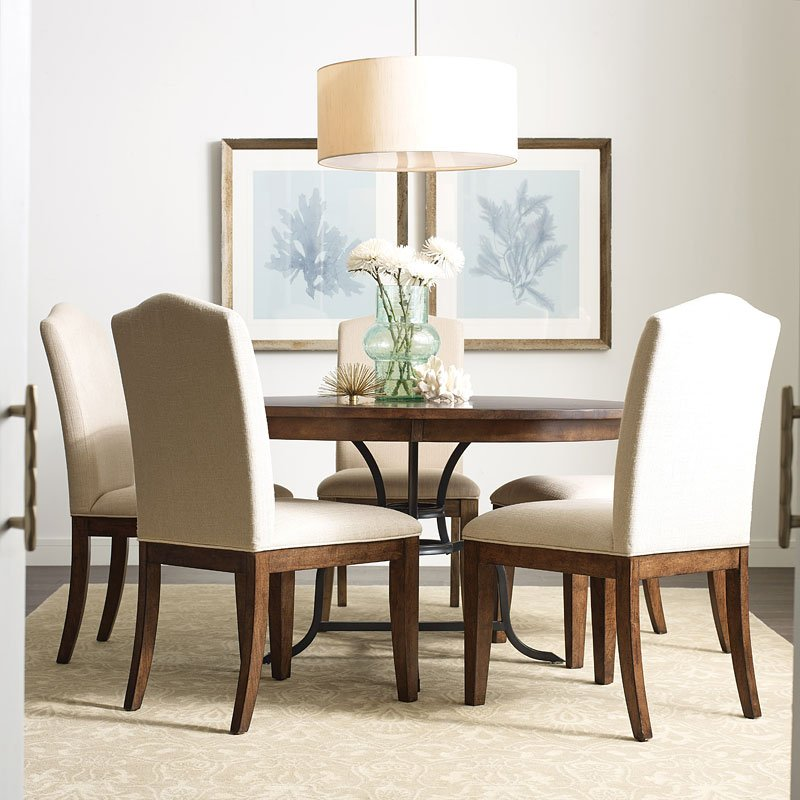 Maple Dining Room Set: The Nook 54 Inch Round Metal Dining Room Set (Maple