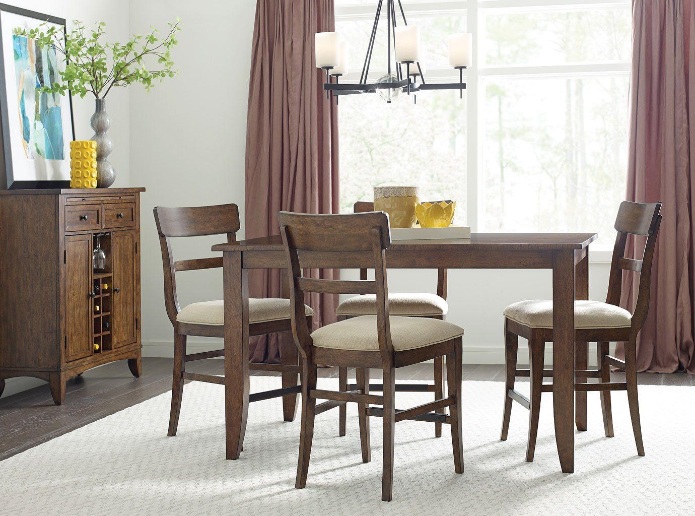 The Nook 60 Inch Counter Height Dining Room Set Maple