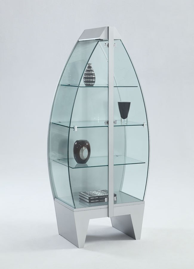 Stainless Steel Row Boat Glass Curio