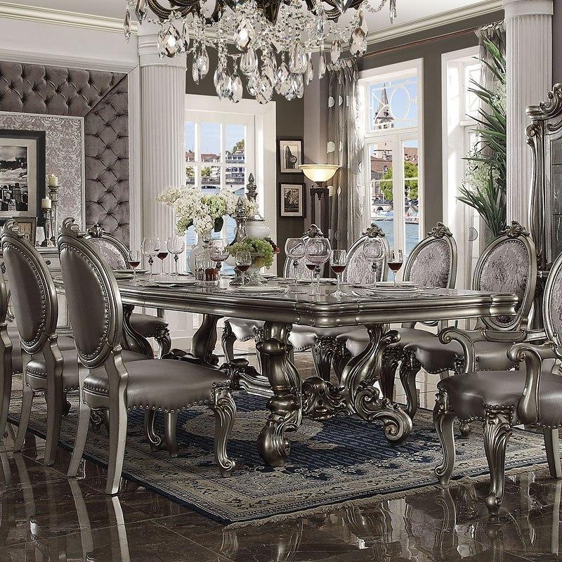 Acme Furniture White Versailles Dining Room Set Classic: Versailles 120 Inch Dining Room Set (Antique Platinum