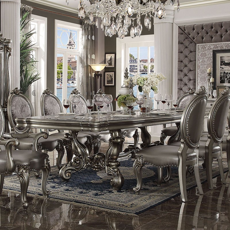 Versailles 136 Inch Dining Room Set Antique Platinum
