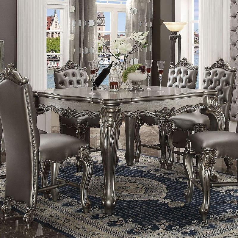 Versailles Counter Height Table (Antique Platinum)