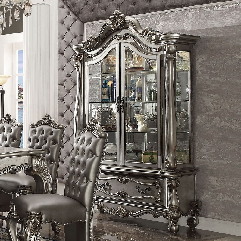 Versailles Round Dining Room Set (Antique Platinum) Acme