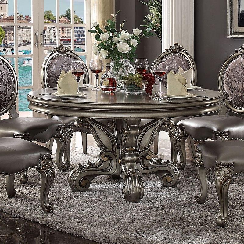 17aff12a3625 Versailles Round Dining Table (Antique Platinum) Acme Furniture ...