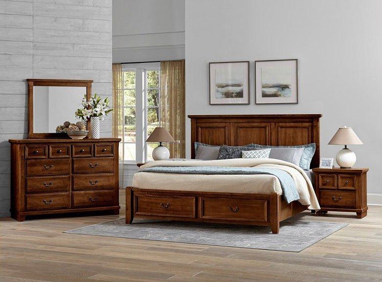 Timber Creek Mansion Storage Bedroom Set Rustic Cherry Vaughan Bassett Furniture Cart