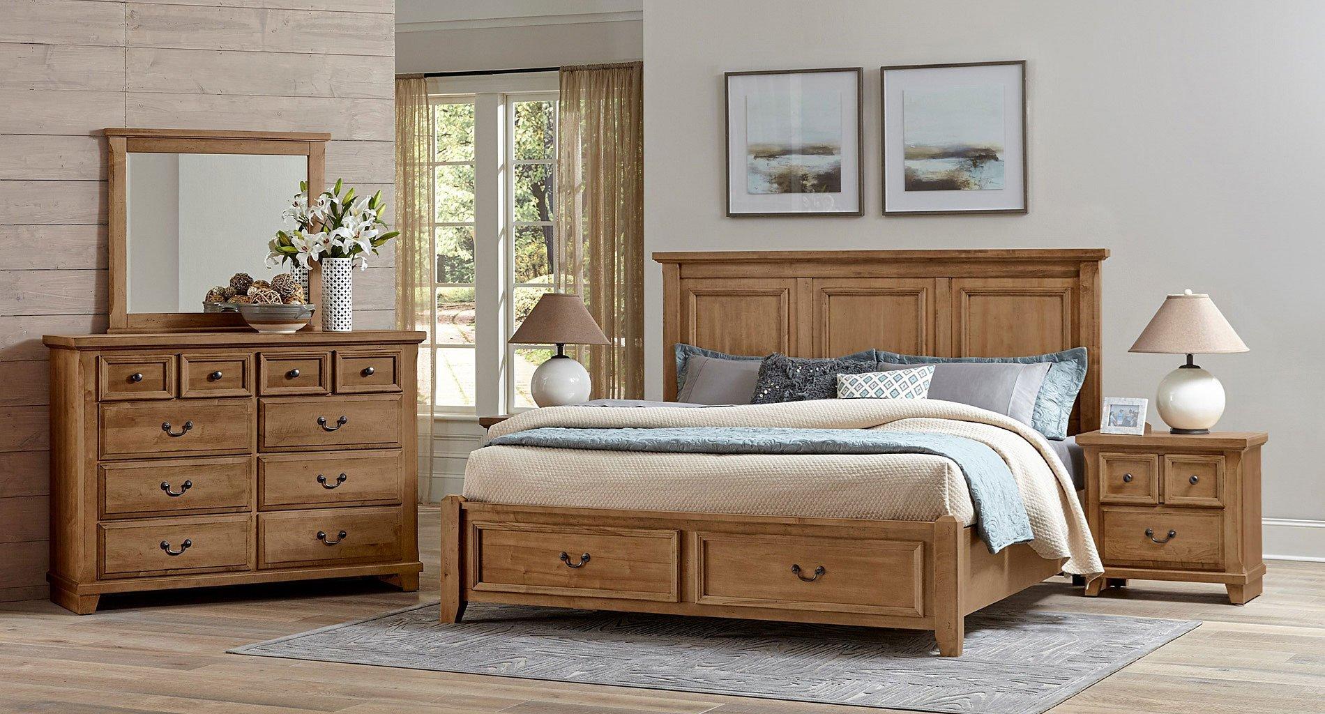 Timber Creek Mansion Storage Bedroom Set Natural Maple Vaughan Bassett Furniture Cart