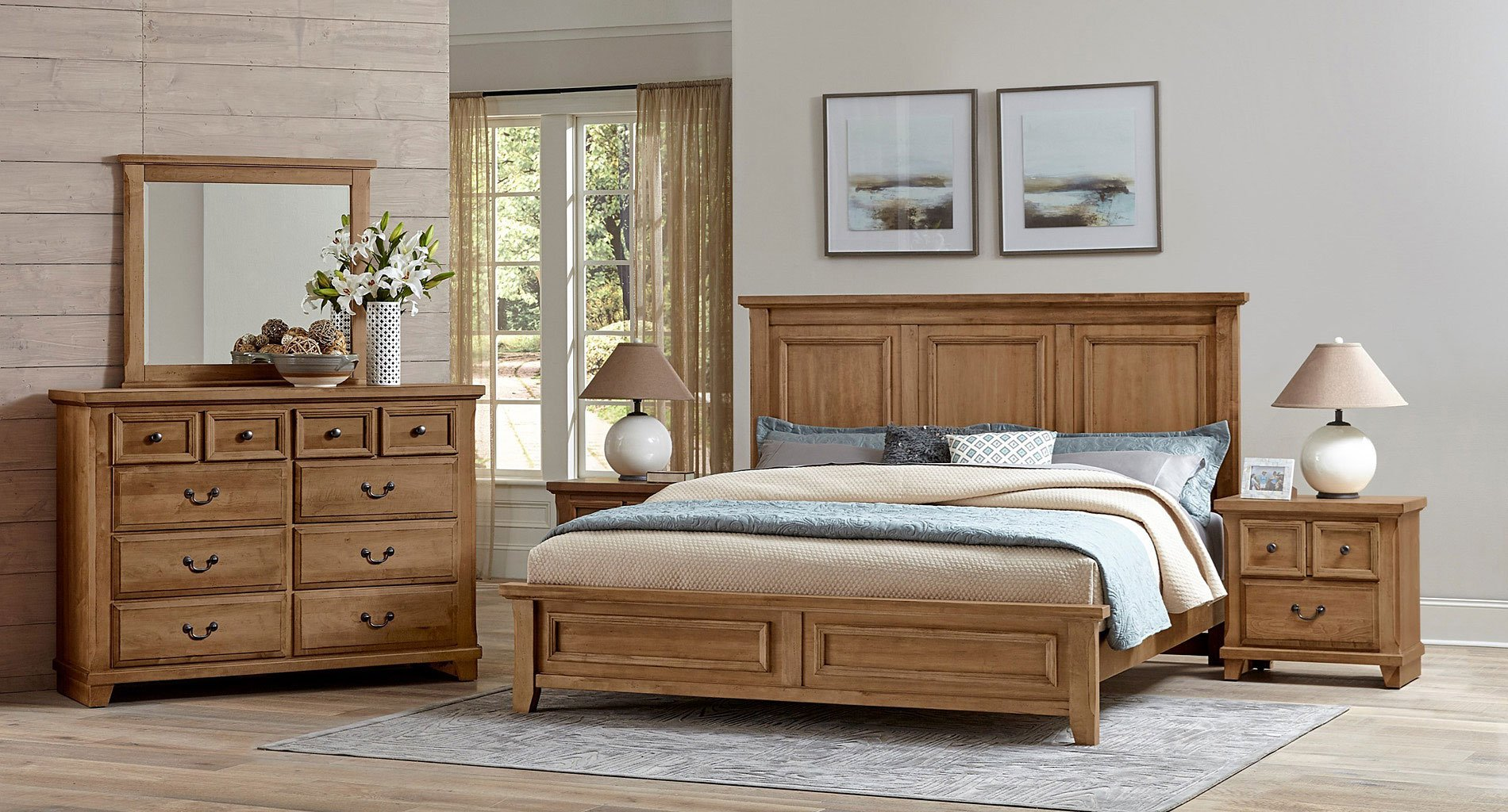 Timber Creek Mansion Bedroom Set Natural Maple Vaughan Bassett Furniture Cart