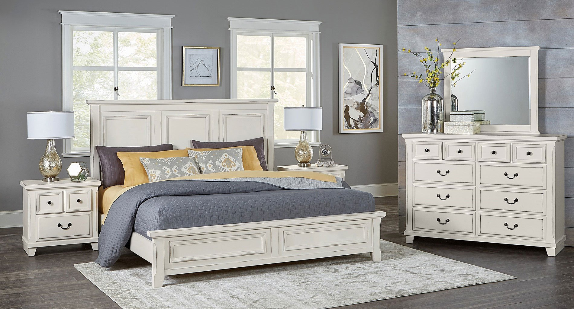 Timber creek mansion bedroom set distressed white - Distressed bedroom furniture sets ...