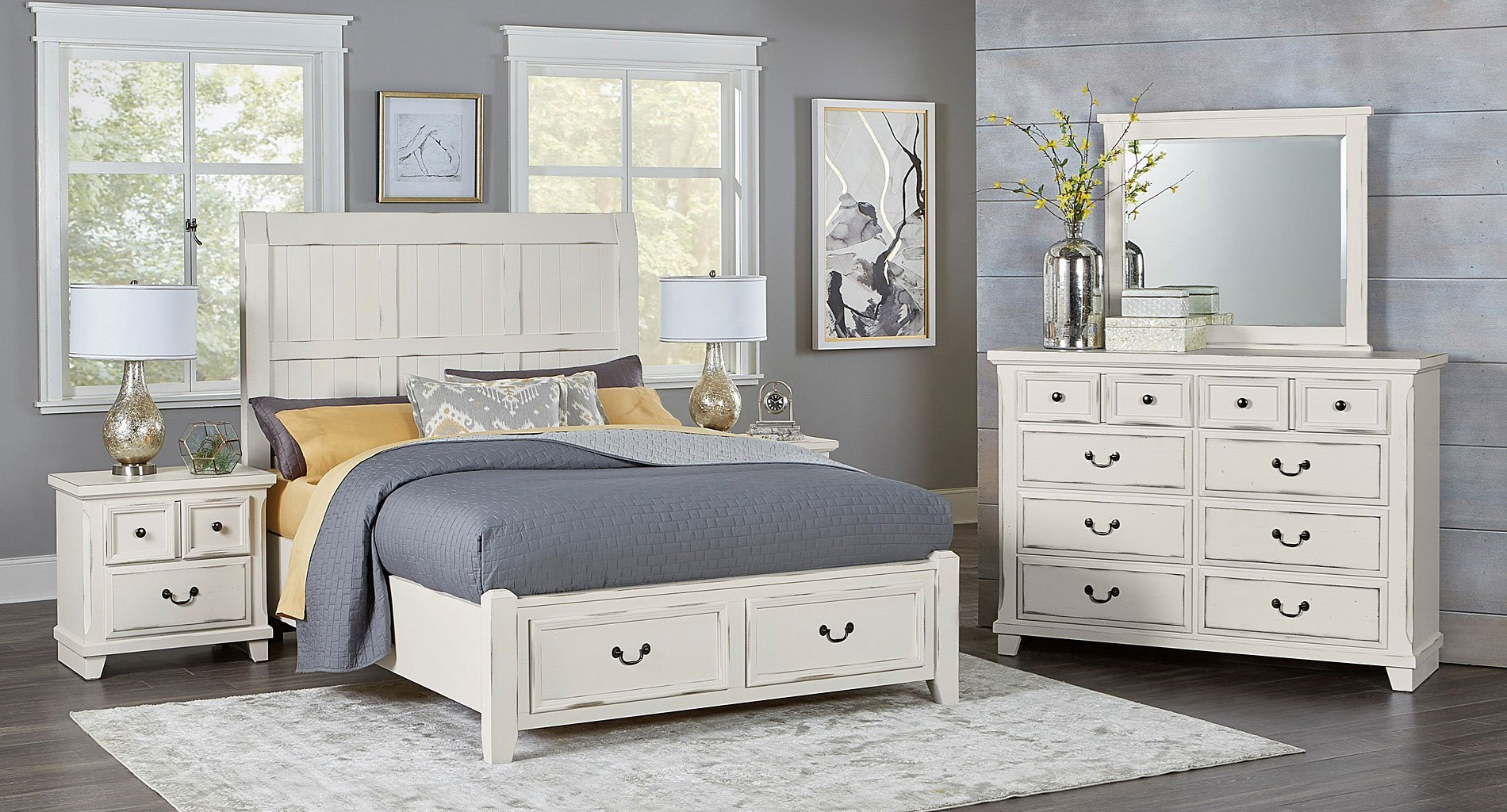 Timber Creek Storage Bedroom Set Distressed White Vaughan Bassett Furniture Cart