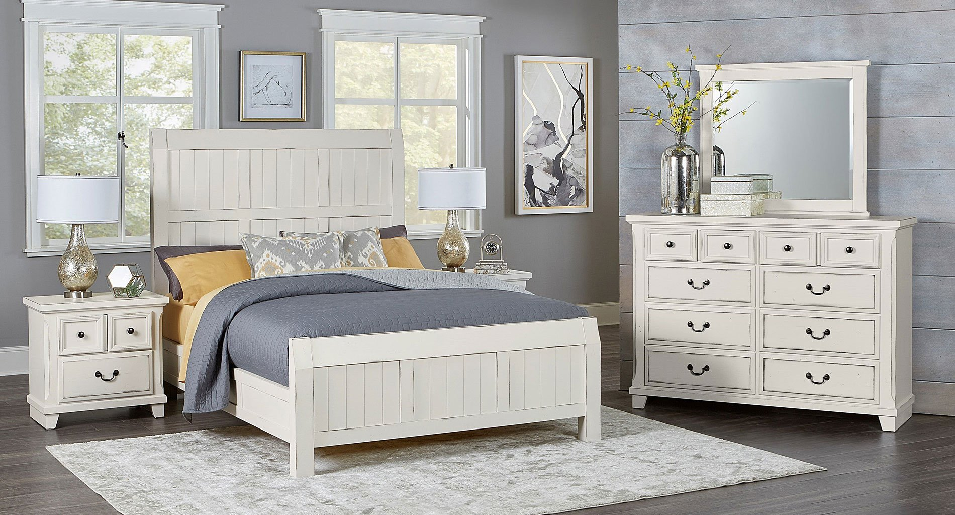Timber creek bedroom set distressed white vaughan - Distressed bedroom furniture sets ...