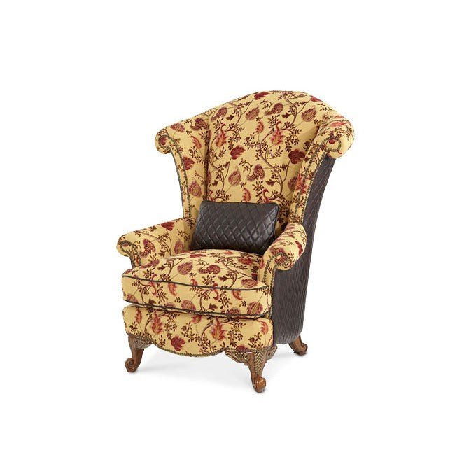 Oppulente Leather Fabric Wing Chair Aico Furniture