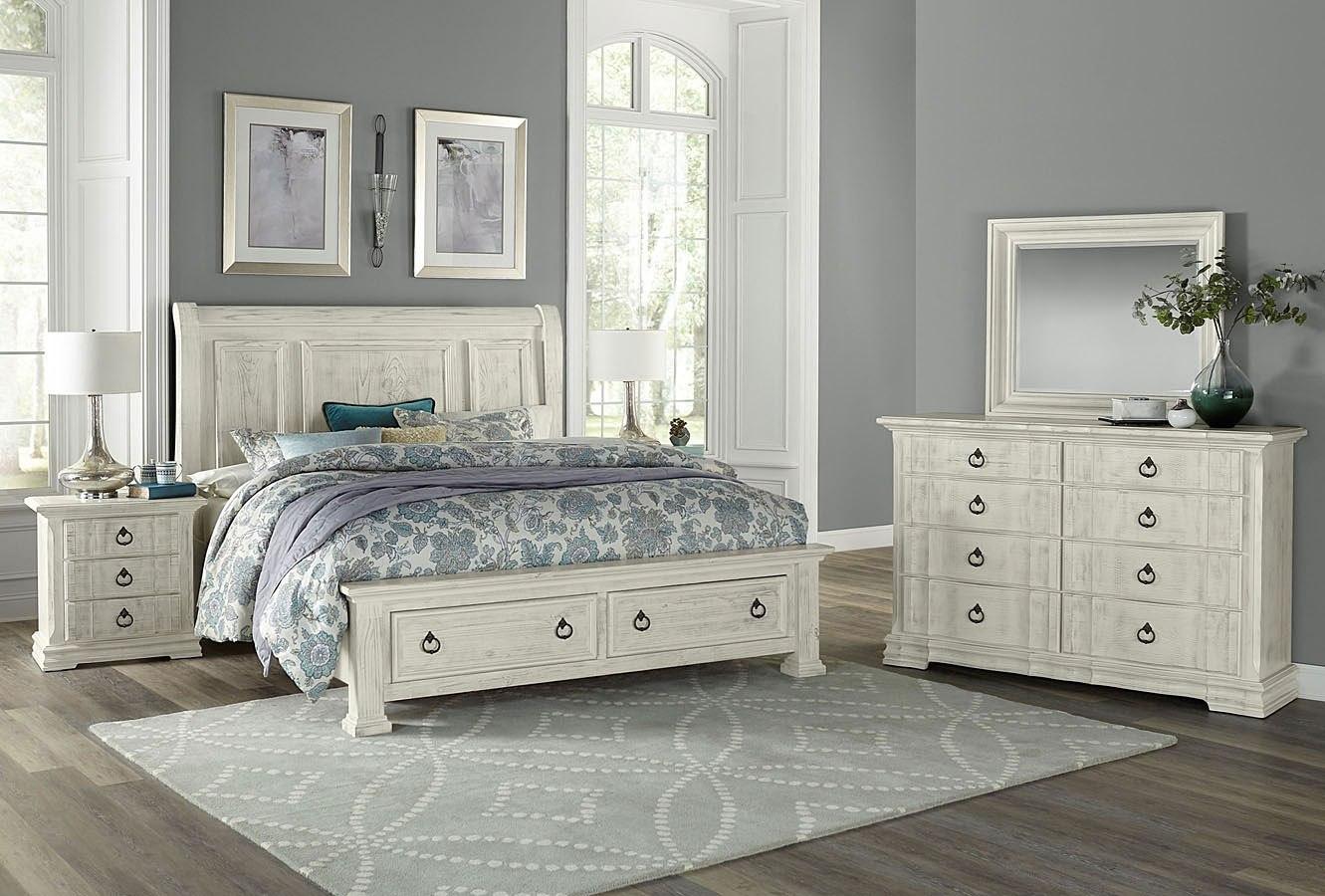 Rustic Hills Sleigh Storage Bedroom Set Weathered White Vaughan Bassett Furniture Cart
