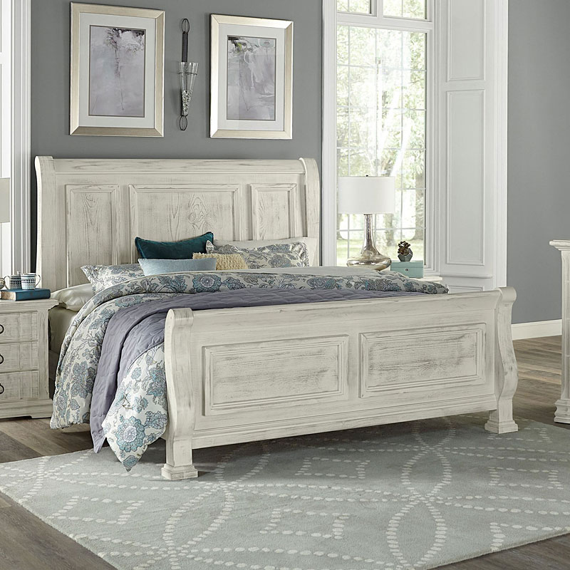 Rustic Hills Sleigh Bed Weathered White