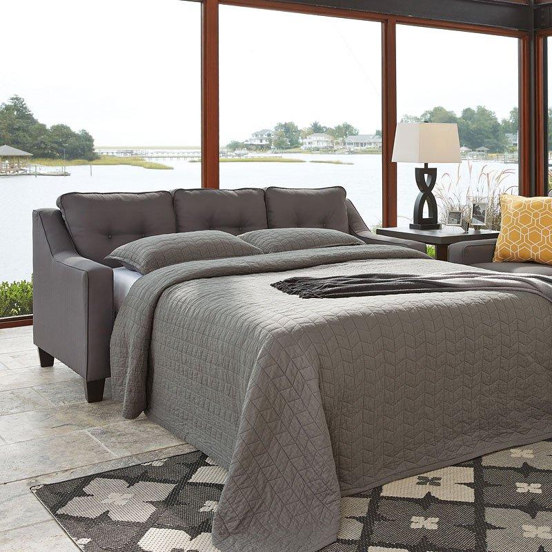 Aldie Nuvella Gray Queen Sofa Chaise Sleeper Benchcraft 1