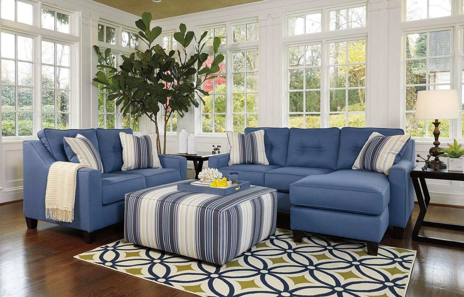 Attrayant Aldie Nuvella Blue Living Room Set BenchCraft, 2 Reviews | Furniture Cart