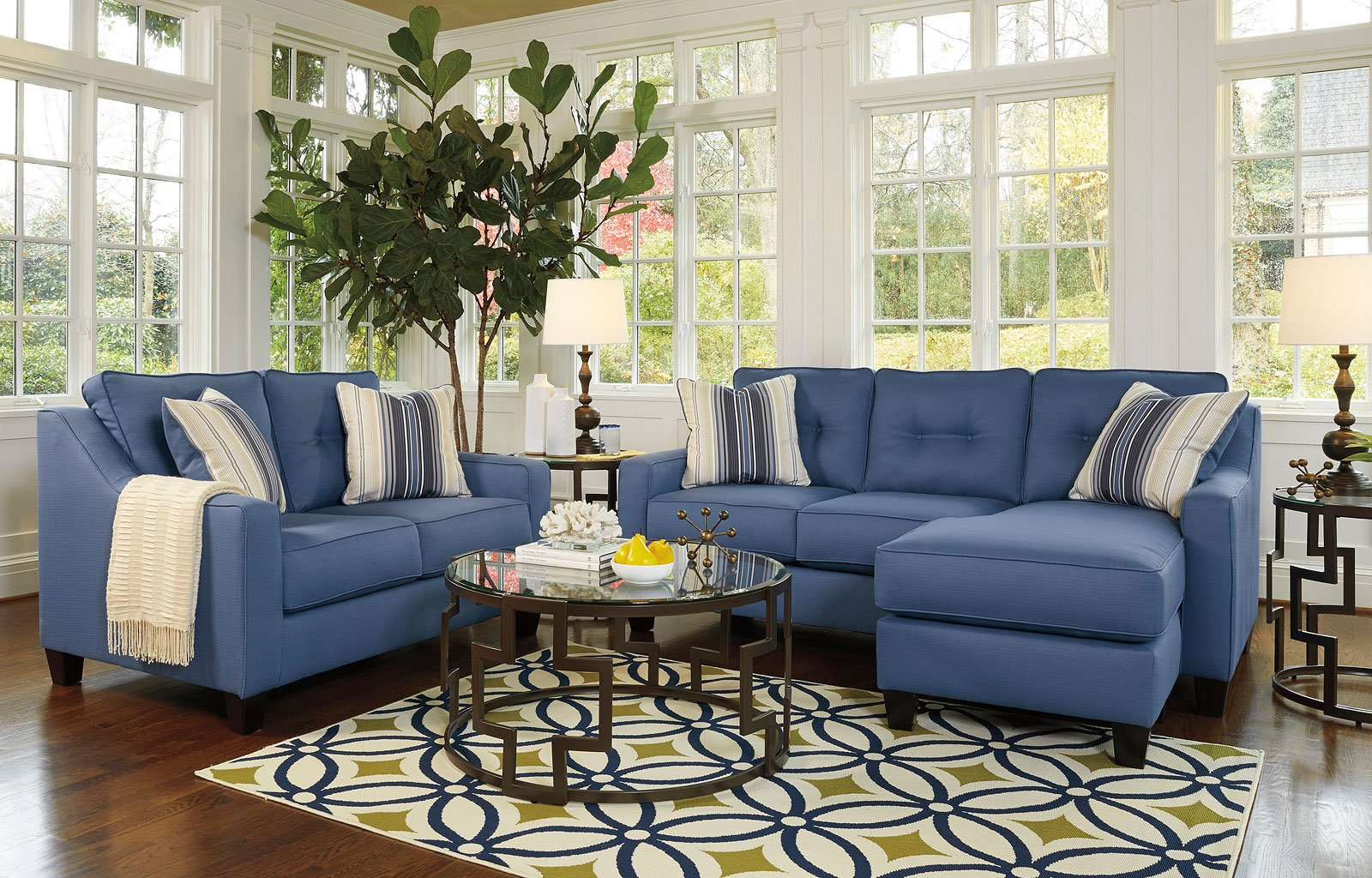 Aldie Nuvella Blue Living Room Set