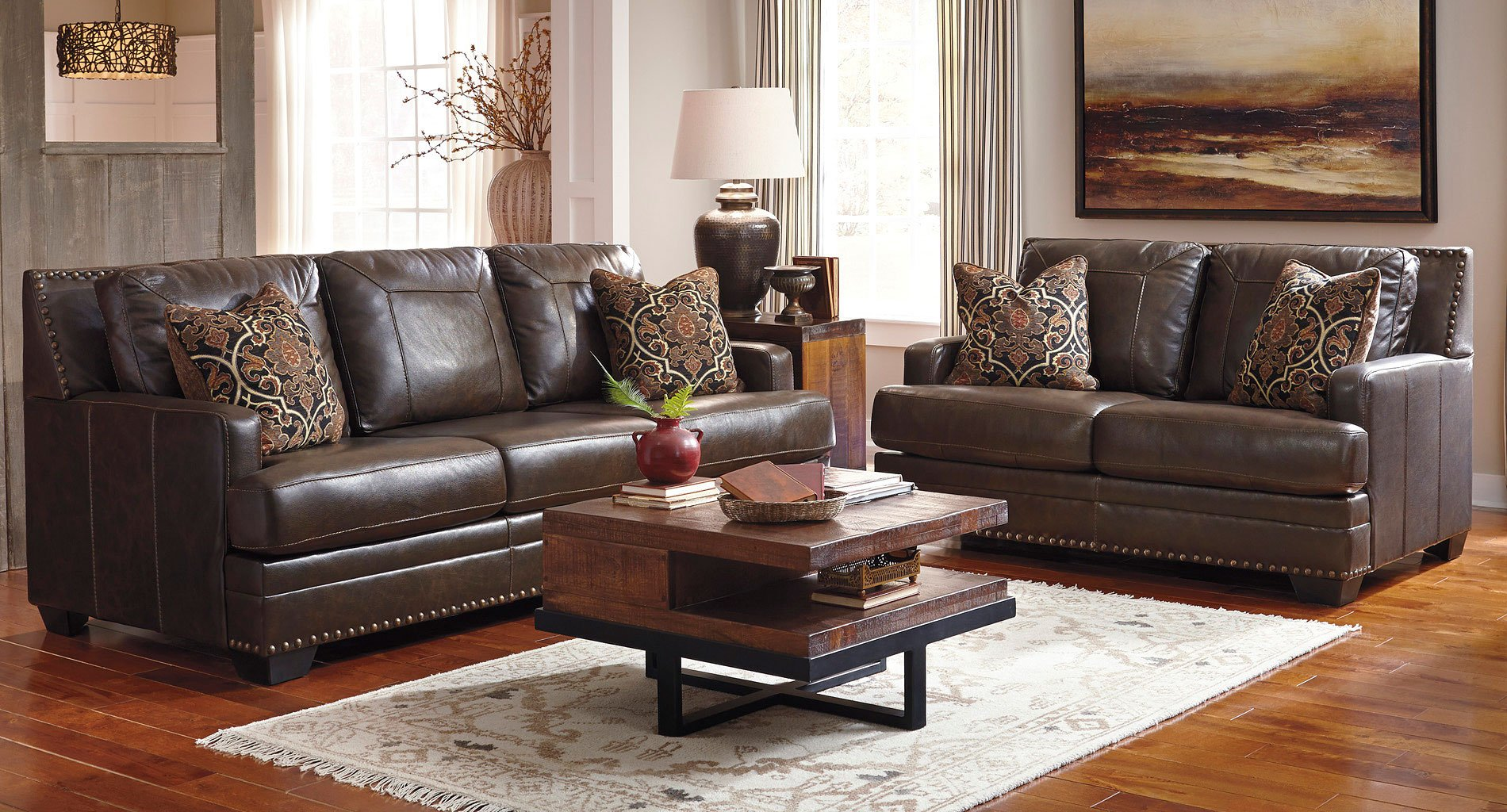 Corvan Antique Living Room Set Signature Design | Furniture Cart