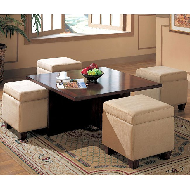 Leonard Tail Table With 4 Cube Ottomans